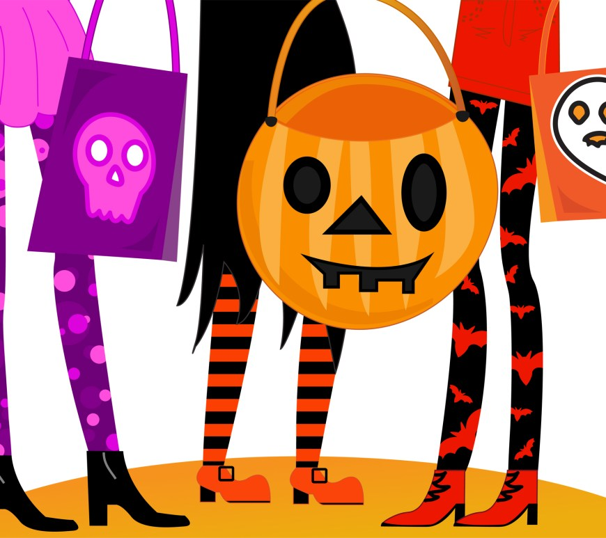 Image shows the cartoon like legs of three trick-or-treaters in colorful leggings and carrying candy bags.