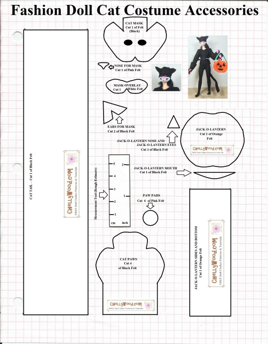 Image shows an actual, printable sewing pattern for a cat-shaped felt mask that fits Barbie sized fashion dolls. Along with that is a pattern for a pumpkin bucket, cat paw mittens, and a cat's tail. These patterns, when cut out and sewn, will make a number of accessories that fit Barbie and similar-sized dolls.