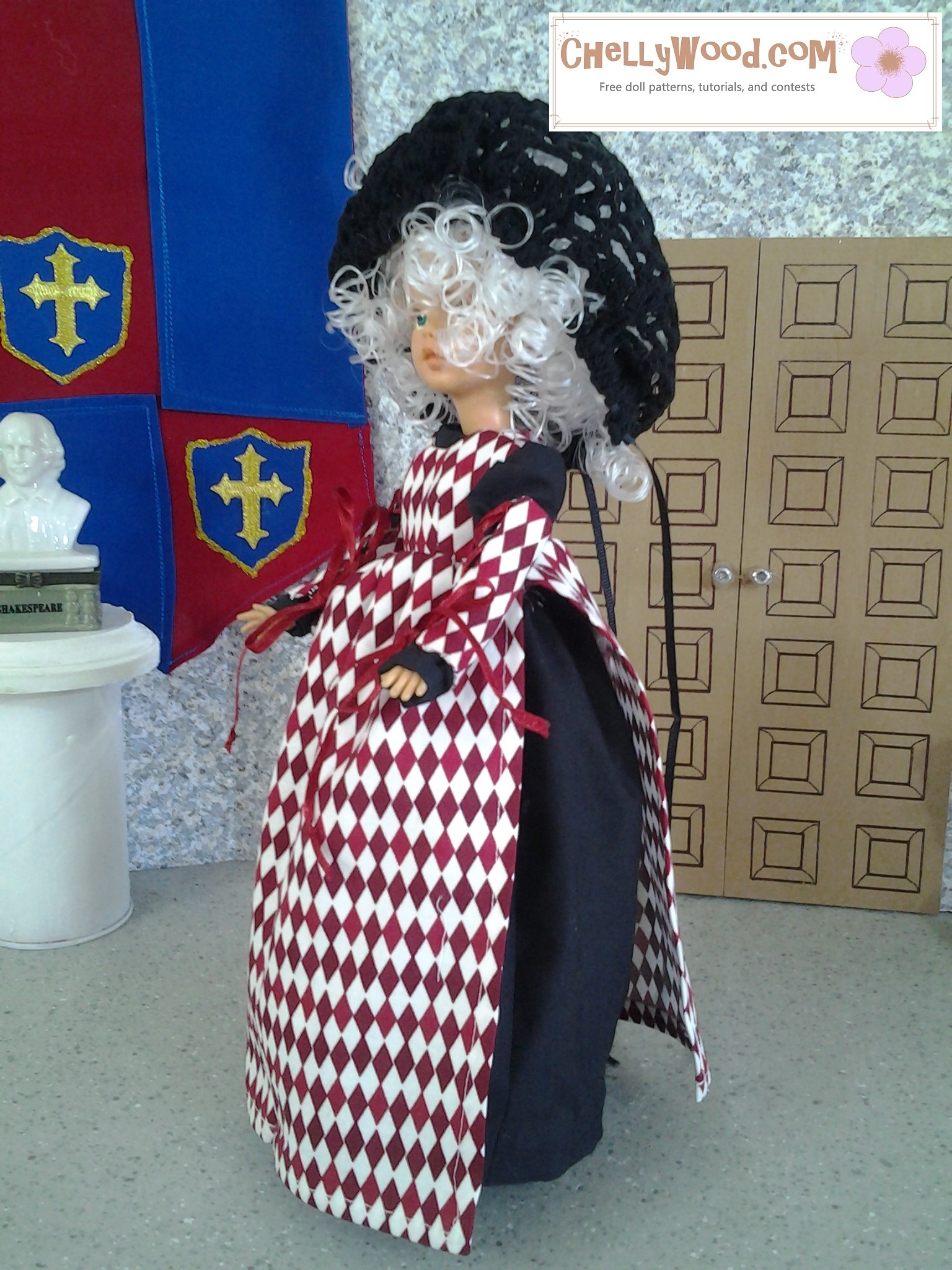 This is an image of a vintage Tammy doll (produced by Ideal Toy Corp in the 1960's) wearing a handmade ball gown, snood, pinafore, and detached sleeves in a renaissance style. ChellyWood.com offers a free PDF sewing pattern for making these doll clothes to fit the Ideal Toy Corporation Tammy Dolls.