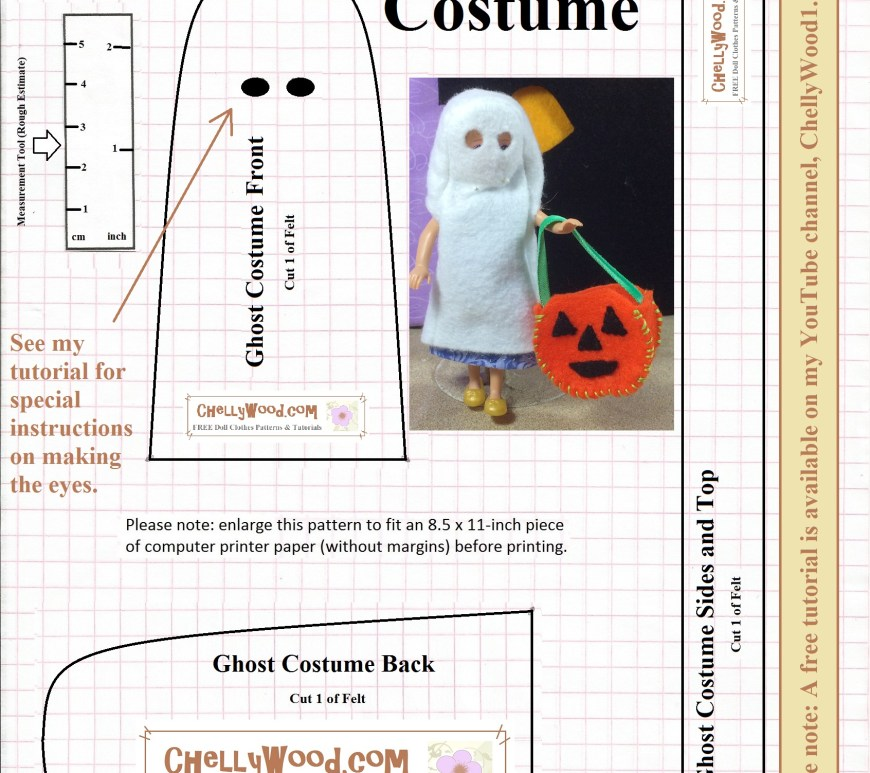 "Small dolls fit in this printable pattern for a ""ghost costume"" from ChellyWood.com. You can print this pattern for free, and follow the matching tutorial which is found at ChellyWood.com or on Chelly's YouTube channel, ChellyWood1. The image shows a small doll like Polly Pocket TM or Chelsea TM doll from Mattel wearing the ghost costume and carrying a small pumpkin-shaped candy bucket."