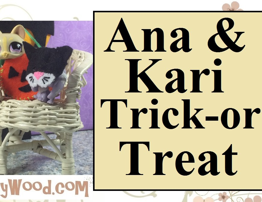 Image shows Little Pet Shop puppy wearing a cat-shaped handmade mask and Littlest Pet Shop kitty hiding in a Halloween jack-o-lantern. Both are seated in a wicker chair with a felt Haunted house behind them.