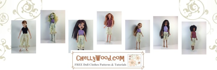 """The image shows nine different dolls, ranging in size from 8"""" to 12"""" wearing the same pair of one-size-fits-all doll bloomers (AKA pantaloons) from the Victorian era. The sewing pattern for making doll-sized bloomers is found at ChellyWood.com, and you can make these patterns from jersey fabric (stretchy material) so that they will fit most fashion dolls in the 8-inch to 12-inch size range. Follow the directions found at the link provided, taking you to ChellyWood.com, where you can download the free printable PDF sewing pattern for these pants and many other doll clothes to fit dolls of many shapes and all different sizes."""
