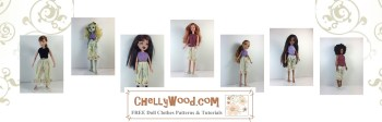 """Click here to find the pattern and tutorial for making these bloomers (pantaloons): https://wp.me/p1LmCj-GOC The image shows nine different dolls, ranging in size from 8"""" to 12"""" wearing the same pair of one-size-fits-all doll bloomers (AKA pantaloons) from the Victorian era. The sewing pattern for making doll-sized bloomers is found at ChellyWood.com, and you can make these patterns from jersey fabric (stretchy material) so that they will fit most fashion dolls in the 8-inch to 12-inch size range. Follow the directions found at the link provided, taking you to ChellyWood.com, where you can download the free printable PDF sewing pattern for these pants and many other doll clothes to fit dolls of many shapes and all different sizes."""