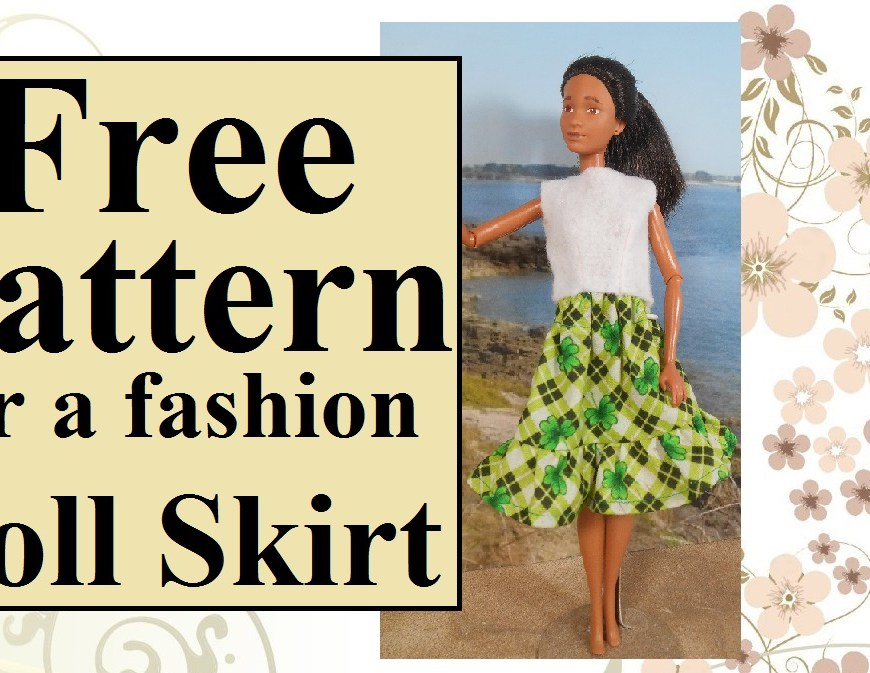 """The image shows a Mattel Barbie doll wearing a handmade skirt with a ruffle. The cotton fabric used for the skirt is decorated in a Celtic plaid (black, light green, and white) overlaid with bright green shamrocks that measure about 9 mm across. The overlay says, """"Free pattern for a fashion doll's skirt"""" and this image comes from ChellyWood.com, where you can find hundreds of free printable sewing patterns for dolls of many shapes and all different sizes. To download the free printable PDF sewing pattern for making this ruffle skirt for your fashion doll, please click on the link provided in the caption."""