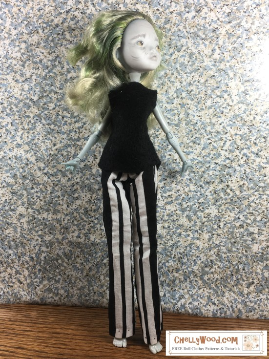 "Image shows a ""Lagoona Blue"" doll from the Monster High collection wearing a handmade pair of striped boot-cut pants. Overlay says ""ChellyWood.com: free printable sewing patterns and tutorials for dolls of many shapes and sizes."""