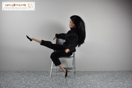"""Image shows a Made-to-Move Barbie from Mattel wearing hand-sewn capri pants and a handmade turtleneck sweater. She is seated on a 1:6 scale folding chair, and she's lifting one leg into the air while balancing herself by holding onto the back of the folding chair. The background is white. Overlay says, """"ChellyWood.com: free printable sewing patterns and tutorials."""""""
