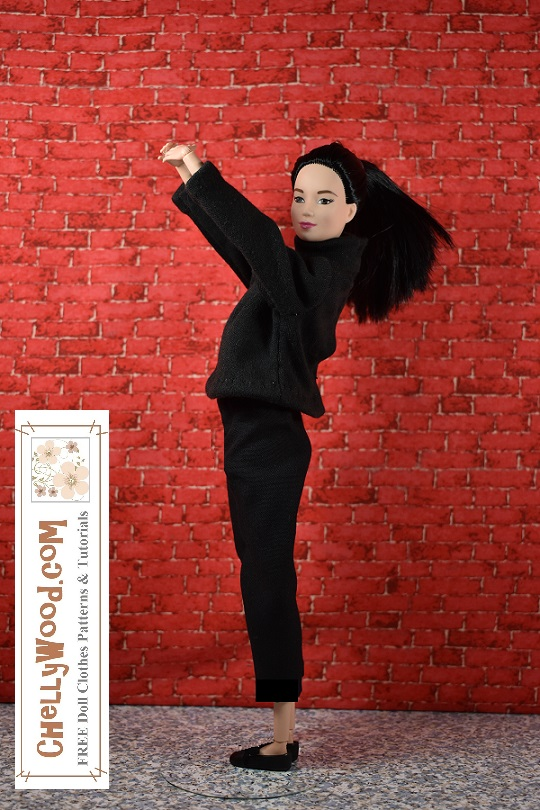 """Visit ChellyWood.com for free, printable sewing patterns for dolls of many shapes and sizes. Image shows a Made-to-Move Barbie doll (from Mattel) wearing hand-made capri pants and a turtleneck sweater. She's posing like Audrey Hepburn from a famous photograph, with her body turned to the side and her hands folded together above her head, elbows straight. She stands before a simple brick wall. Overlay says, """"ChellyWood.com: FREE printable sewing patterns and tutorials."""