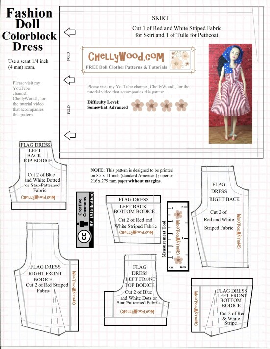 Visit ChellyWood.com for free, printable sewing patterns for dolls of many shapes and sizes. Image shows a sewing pattern for Barbie-sized fashion dolls. It includes a measurement tool and image of a Barbie made to move doll wearing a patriotic dress that resembles the United States flag.