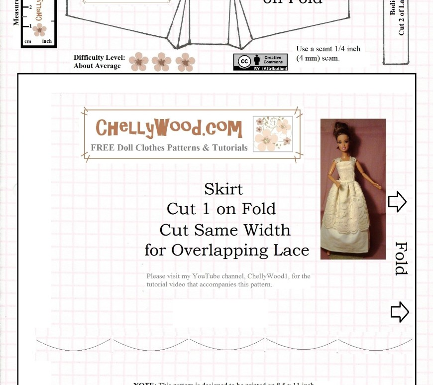 "Visit ChellyWood.com for free, printable sewing patterns for dolls of many shapes and sizes. Image shows a free printable pattern for a fashion doll's nightgown, sundress, or quince dress pattern. It fits most fashion dolls, like Barbie, Liv dolls, Queens of Africa dolls, Poppy Parker dolls, Fashion Royalty dolls, Disney Princess dolls, and many more. Overlay says, ""ChellyWood.com: creative commons attribution."""