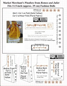 """Visit ChellyWood.com for free, printable sewing patterns for dolls of many shapes and sizes. Image shows a bodice, sleeve, and skirt pattern for what's referred to as the """"Market Merchant's Pinafore from Romeo and Juliet"""" and it also says, """"Fits 11.5-inch (approximately 29 cm) fashion dolls."""" The words """"Creative commons attribution"""" and the URL ChellyWood.com are overlaid on the patterns as well."""
