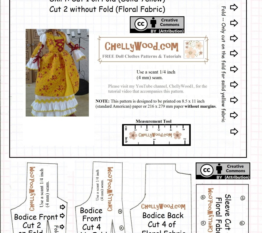 "Visit ChellyWood.com for free, printable sewing patterns for dolls of many shapes and sizes. This is an image of a pattern for a doll's pinafore dress. The overlay says, ""ChellyWood.com"" and explains that the dress pattern fits most 11.5 inch fashion dolls."