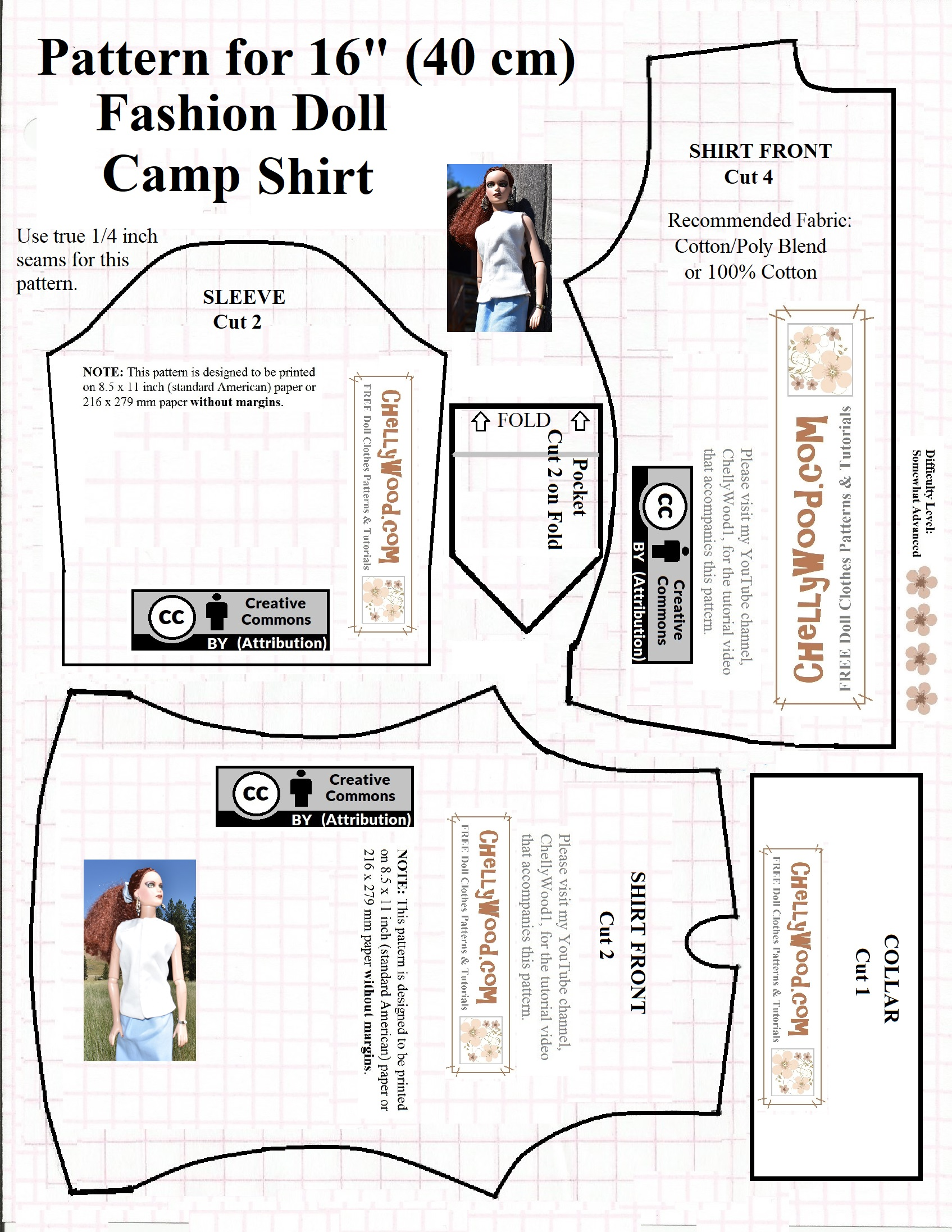 Camp Shirt Pattern : shirt, pattern, Printable, #Sewing, Pattern, 16″, 17″, #Dolls', Shirt, ChellyWood.com, Clothes, Patterns