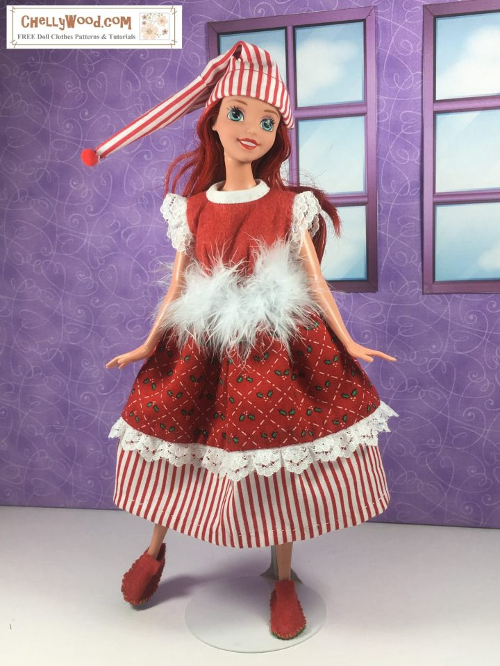 Princess Ariel doll wears a handmade holiday dress in red and white with a striped petticoat, and a furry belt, along with a striped nightcap.