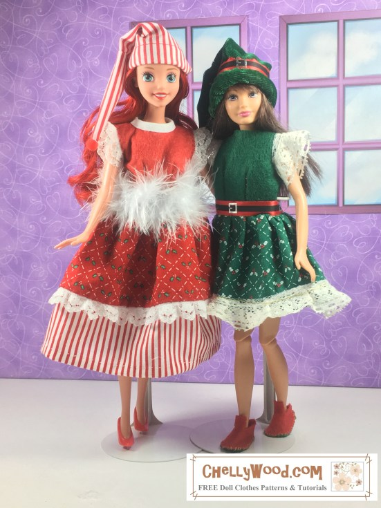"Image shows Skipper and Ariel (the Disney Princess doll) wearing hand-made doll dresses, which are made of felt coupled with holiday fabrics that have very small prints. Overlay says, ""ChellyWood.com: FREE printable sewing patterns and tutorials."""