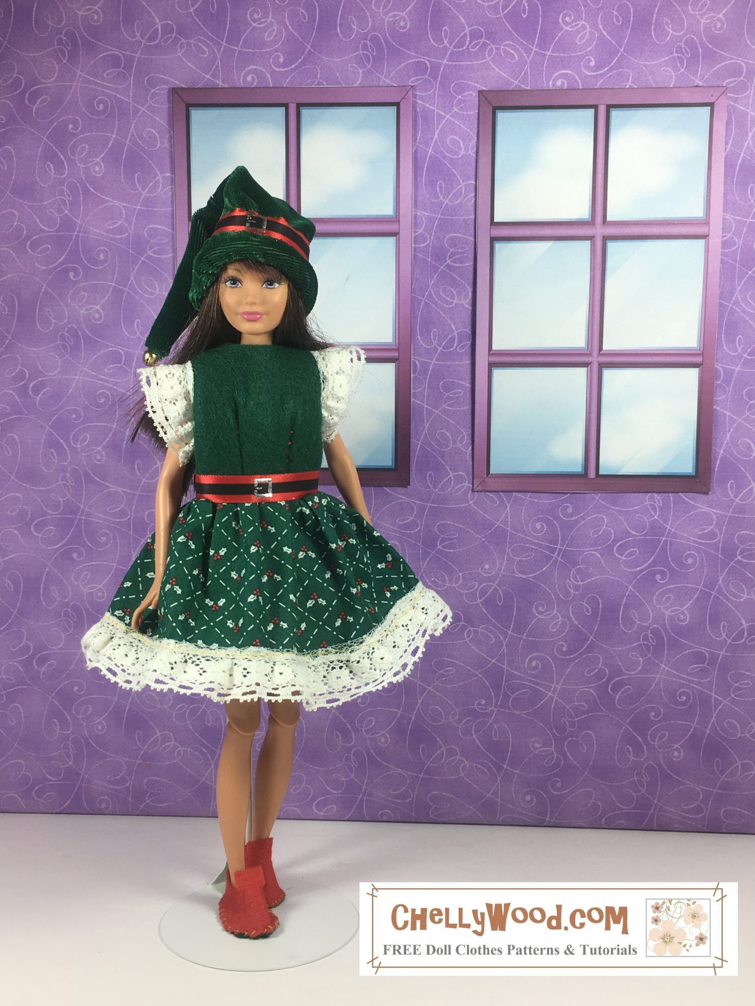 A Mattel Skipper doll models a handmade holiday dress with an elf hat and elf boots. The dress has a green felt bodice, lace sleeves,  a green print cotton skirt that flares with white lace trim, and a Santa ribbon belt.