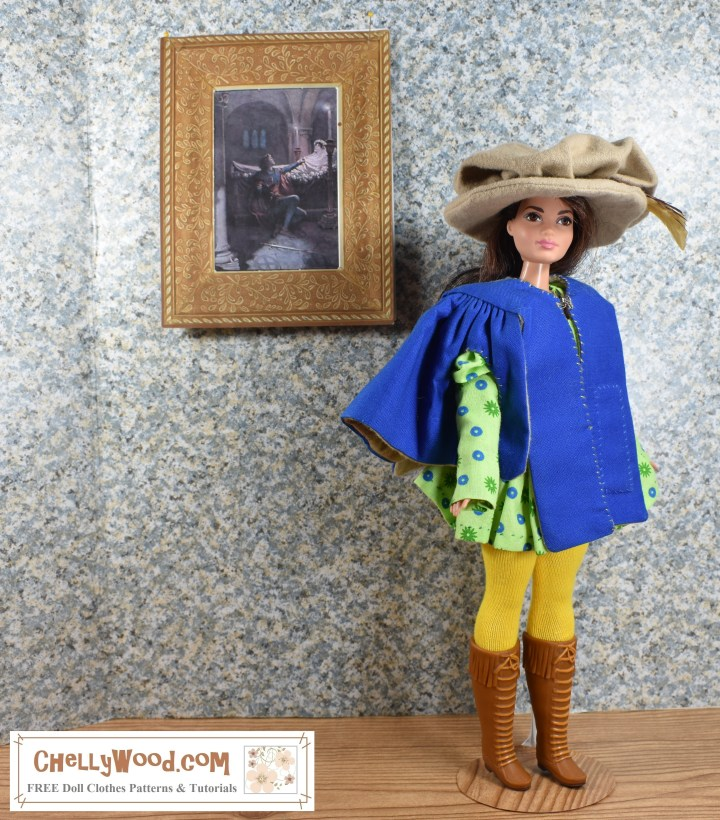 "Visit ChellyWood.com for FREE printable sewing patterns for dolls of many shapes and sizes. Image shows Mattel's ""Curvy"" Barbie wearing a musketeer-style outfit, complete with Renaissance coat, feathered hat, tights, and laced-up boots. She stands in an art gallery with a painting of Romeo and Juliet on the spackled wall behind her. Overlay offers the website where the FREE printable patterns for this outfit can be found: ChellyWood.com"