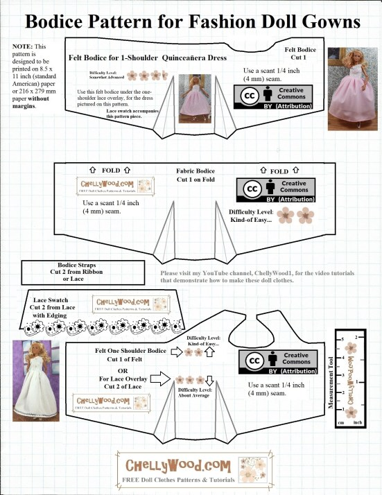 Please visit ChellyWood.com for FREE printable sewing patterns for dolls of many shapes and sizes. Image shows a pattern for the bodice of a fashion doll quinceanera dress to fit dolls the size of Barbies or other similar-sized fashion dolls. The pattern includes three different bodice styles.