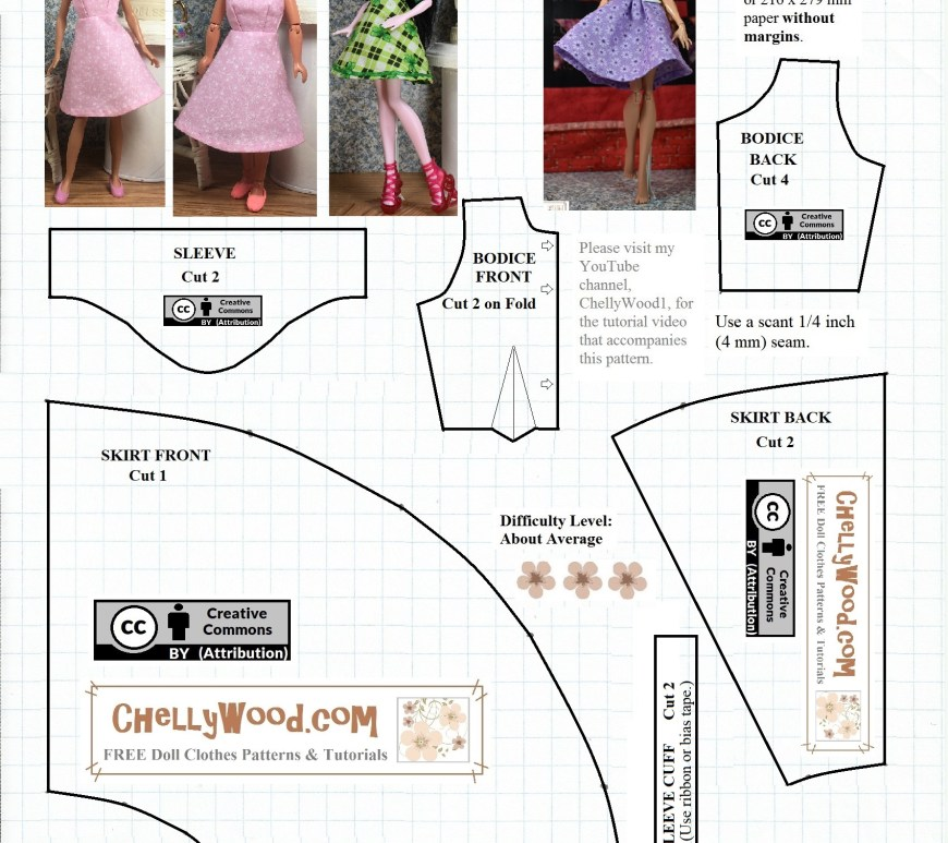 Please visit ChellyWood.com for free, printable sewing patterns for dolls of many shapes and sizes. Image shows a Free printable sewing pattern for A-line dress to fit small dolls like Monster High dolls, Ever After High dolls, Stacie Dolls, La Dee Da dolls, Breyer Rider dolls, and Bratz dolls (among others).