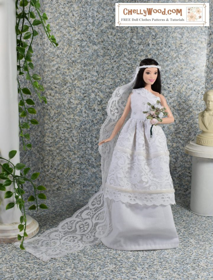 Would you like to make this dress? If so, please click on the link in the caption. This is a photograph of a Mattel Tall Barbie wearing a handmade wedding gown. The gown has a layer of lace over the white cotton skirt of the dress, and the one-shoulder bodice is made of felt trimmed in lace. The doll holds a bouquet of silk flowers, and her veil is a headband wound with ribbon, forming a long train of lace that flows behind the doll. To the doll's left is a bust of a famous composer. To the doll's right is a column with climbing vines that have teeny-tiny green leaves. The watermark reminds us to go to ChellyWood.com for free printable sewing patterns for making doll clothes to fit dolls of many shapes and all different sizes.
