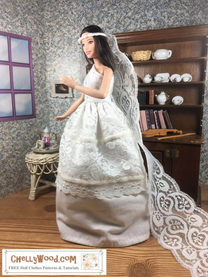 "Please visit ChellyWood.com for FREE printable sewing patterns and tutorials for making doll clothes for dolls of many shapes and sizes. Image shows Mattel's Tall Barbie from the Fashionista line wearing a hand-made white wedding gown and veil. She stands before a 1:6 scale china hutch filled with tiny pieces of white china that reflect the lovely folds of white lace, eyelet, and velvet ribbons adorning Tall Barbie's wedding dress. Her gown flows above the hard wood floor in her little diorama. Opposite the china hutch is a table holding a white tea set decorated with tiny pink flowers. Above that is a window and between the window and the china hutch, a famous painting of Romeo and Juliet hangs on the wall. Barbie wears a long veil made of lace, pipe cleaners, and ribbon. The watermark says, ""ChellyWood.com: free printable sewing patterns for dolls of many shapes and sizes."""