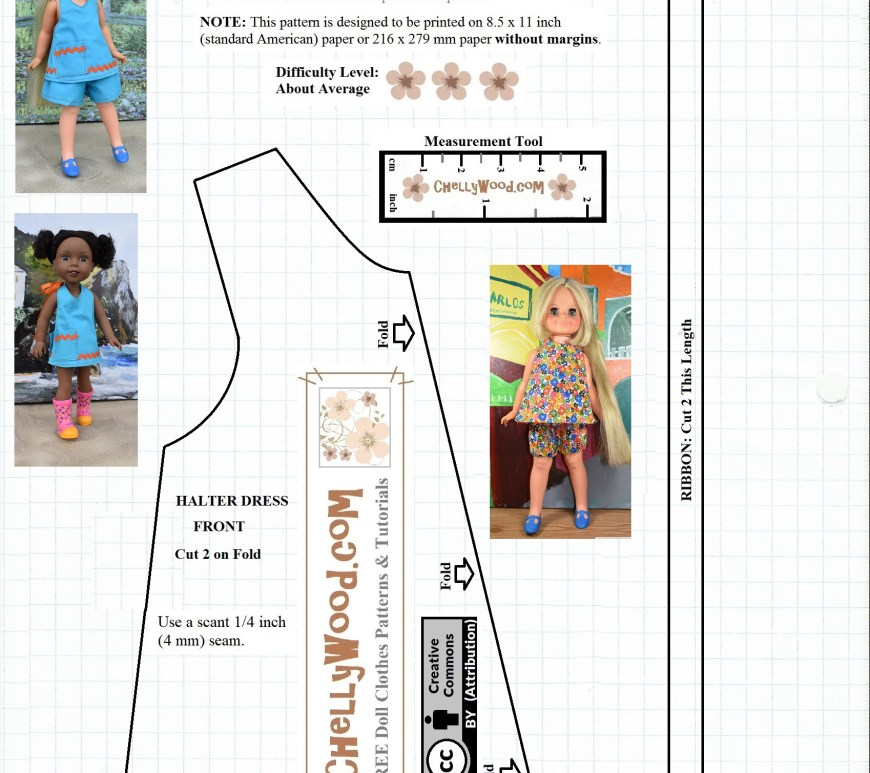 "Please visit ChellyWood.com for FREE printable sewing patterns for dolls of many shapes and sizes. Image shows a free printable sewing pattern for what would be a halter-style summer sundress or halter top for dolls ranging from 14"" (fourteen inches) or 35.5 cm to 15"" (fifteen inches) or 38 cm to 16"" (sixteen inches) 40.5 cm tall dolls. This pattern will fit most dolls in that size range because of the versatile closure with Velcro in the back. The size can be adjusted to fit many different sized dolls. This is a free printable sewing pattern for doll clothes designed by Chelly Wood of ChellyWood.com. Pattern contains a ""creative commons attribution"" mark, which means that if you use this pattern, you should help to promote the website where this pattern came from."