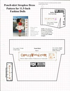 "Image shows a bodice and pencil skirt pattern for a summer dress to fit 11.5 inch fashion dolls like Barbie. overlay says, ""ChellyWood.com"" and is marked with the ""creative commons attribution"" symbol. Visit ChellyWood.com for more free printable sewing patterns to fit dolls of many shapes and sizes."