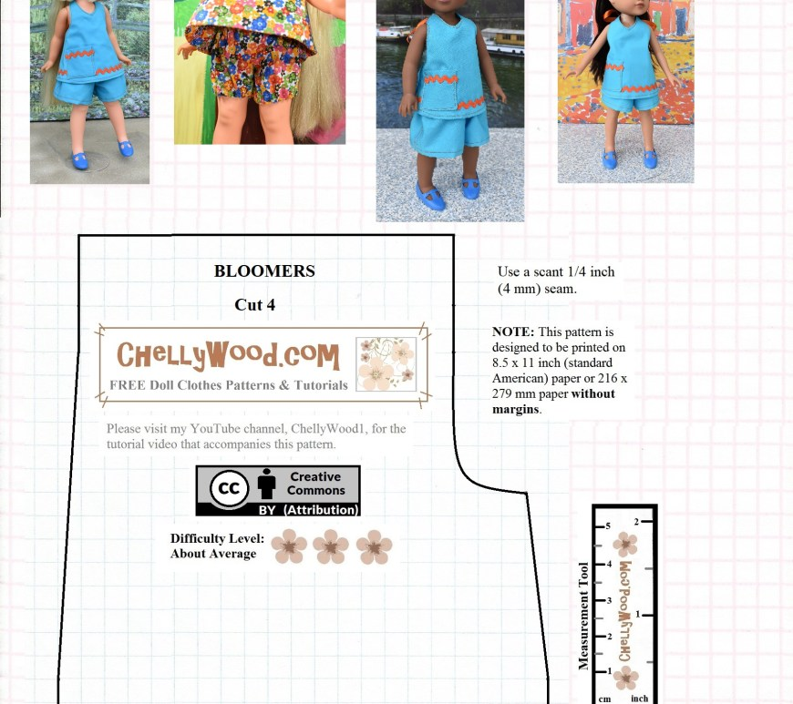 "Please visit ChellyWood.com for FREE printable sewing patterns to fit dolls of many shapes and sizes. The image shows a Wellie Wisher doll (from the American Girl doll company), a Hearts for Hearts Girls doll, and a Velvet Doll (from the Crissy family of dolls made by Ideal) wearing a pair of summer shorts that were sewn using the pattern on the page. This is a FREE printable sewing pattern for summer shorts that dolls sizes 14 inch, 15 inchs, 16 inches, or 17 in. can wear. It also fits 12"" baby dolls. The pattern comes with a free tutorial on YouTube that shows exactly how to sew these shorts with clearly written directions that accompany the video. This free printable summer shorts pattern for dolls can also be sewn into doll bloomers or panties/underwear. That requires the use of a different tutorial than the shorts sewing pattern though. The free printable sewing pattern is overlaid with the URL ChellyWood.com and the ""creative commons attribution"" symbol. It has a few additional written instructions, including seam allowance and printing instructions."