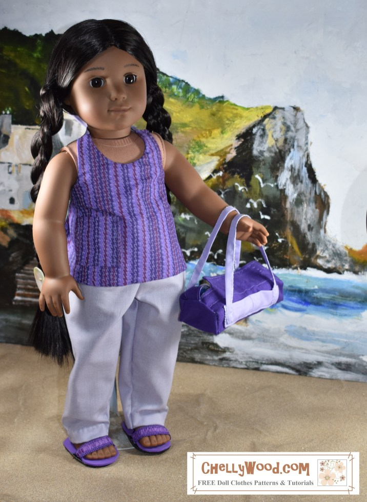"""The image shows a Kaya doll from American Girl wearing a handmade halter top and handmade pants with an elastic waist. She's standing on a beach with a rocky cliff behind her. If you'd like to download and print the free patterns for making the doll's halter top and pants, please go to ChellyWood.com and click on the """"18 inch doll clothes patterns"""" link on the home page. Then follow a series of links to a gallery with this pattern displayed."""