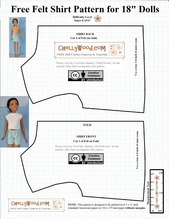 "This image is a lined paper pattern for the basic bodice shape designed to fit 28-inch dolls like the new 28-inch Barbie, also called Just Play Barbie or Barbie Fashion Friend. Along with this free printable doll clothes pattern, there's a youtube tutorial video showing how to make this very basic shirt from felt. The pattern is marked with a ""Creative Commons Attribution"" symbol, and it is watermarked with ChellyWood.com, the website where it was first posted. If you choose to use this pattern, please honor its creative commons attribution mark by letting others know where you found this pattern. The pattern is free, printable, and very easy to make, suitable for beginners and those who are new to sewing. It is marked with a measurement tool and has images of the doll wearing a handmade felt shirt made with this pattern. The pattern doesn't include darts or other shaping tools, as it's just a very basic shirt pattern for 28"" dolls."