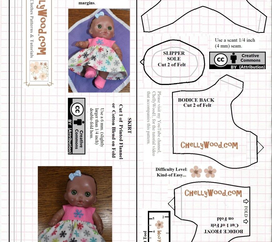 "Please visit ChellyWood.com for FREE printable sewing patterns for dolls of many shapes and sizes. The images shows a free printable sewing pattern for making a dress to fit 8"" dolls like the lil cutesies dolls made by JC toys (shown on the pattern itself wearing the dress made from this free printable sewing pattern). This is a baby doll dress pattern to sew, and it is free and printable. It is stamped with the ""Creative commons attribution"" mark, which means you're free to use this pattern, but please tell others where you got your patterns. You may do this by pinning the pattern on Pinterest, liking the pattern on facebook, tweeting about the patterns on twitter, or using any other form of social media to share your knowledge of this website and/or the images found on this website (including this free doll clothes sewing pattern for baby dolls)."