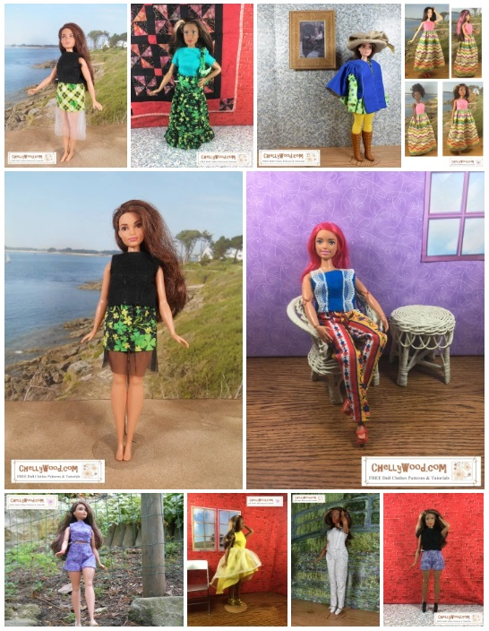 Please visit ChellyWood.com for free, printable sewing patterns to fit dolls of many shapes and sizes. This image shows a gallery of ten different outfits. The doll modeling each item of clothing is a Curvy Barbie (from Mattel). The doll is shown in different ethnic varieties, and she wears a number of different styles of clothes including a couple of mini skirts, a long skirt, a Renaissance musketeer outfit, two different styles of pants, a pair of shorts, a dress with a high-low skirt, a sun dress with a maxi skirt, two different styles of sleeveless tops, and a short-sleeved shirt. Each of these patterns is free to print and download at ChellyWood.com, and as shown, each pattern fits the Curvy Barbie comfortably.