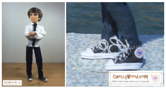 "The image shows a Spin Master Jake doll from the Liv doll collection wearing handmade jeans, a collared shirt, and a tie. There's also an attached image of handmade sneakers that closely resemble Converse High Top tennis shoes. The watermark says, ""ChellyWood.com: free doll clothes patterns and more."""