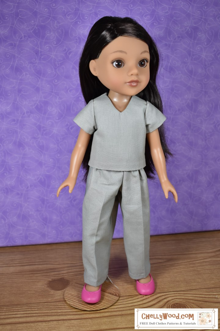 """The image shows Hearts for Hearts Girls (Consuelo) wearing handmade doll clothes: a short sleeve shirt with V-neck and a pair of cotton pants. The FREE printable pdf sewing pattern for this outfit is found at ChellyWood.com, where you can find lots of free printable sewing patterns for dolls of many shapes and sizes. There's also a tutorial video showing how to make both the shirt and the pants. Patterns are free with a """"creative commons attribution"""" mark on them, which means you can use these patterns and post them, but you need to tell people where you got your free pattern."""
