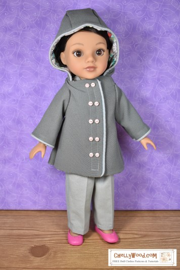 Click here for the free printable sewing patterns and tutorial video for making the raincoat: https://chellywood.com/2019/09/05/lets-make-a-raincoat-with-a-hood-for-14-inch-dolls-also-fits-a-15-inch-doll-fashiondoll/