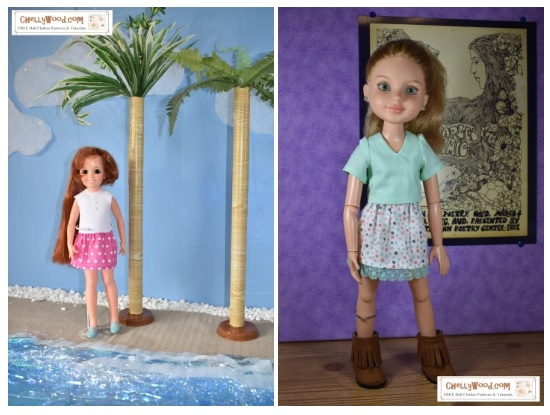 The image shows vintage Crissy doll (from Ideal Toy Co.) wearing handmade doll clothes including an easy to sew felt shirt and polka dot skirt. Beside this image is a photo of a BFC Ink doll from MGA Entertainment Toys and Games. The BFC Ink doll wears handmade doll clothes as well, including in her outfit a v-neck blouse and embellished spotty skirt. Both dolls are posed in lovely diorama scenes: the Crissy doll stands between two palm trees on a beach; the retired BFC Ink doll (Best Friends Club Ink) appears to be in an art museum with a 1970's poster on the wall behind her. On each image is the watermark of the website where you can download the FREE sewing patterns to make the outfits shown on the Crissy doll and BFC Ink dolls: ChellyWood.com (free printable sewing patterns for doll clothes to fit dolls of many shapes and sizes). Chelly Wood's free printable patterns are offered as PDF downloads.