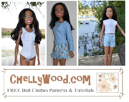 This image is a gallery screenshot showing some of the doll clothes you can make with free printable pdf sewing patterns and tutorial videos available at ChellyWood.com. The image shows the 28 inch Best Fashion Friend Barbie doll modeling beautifully-sewn outfits like a.) a one-piece swimsuit that is form-fitted and has a keyhole feature at the back of the suit; an outfit consisting of a long-sleeve sweater (sewn) and argyle miniskirt with knife pleats; a pair of easy-to-sew elastic waist shorts with a felt sleeveless top / shirt. At the bottom of the image, the watermark reminds you that all of these free printable sewing patterns and tutorials are available at ChellyWood.com