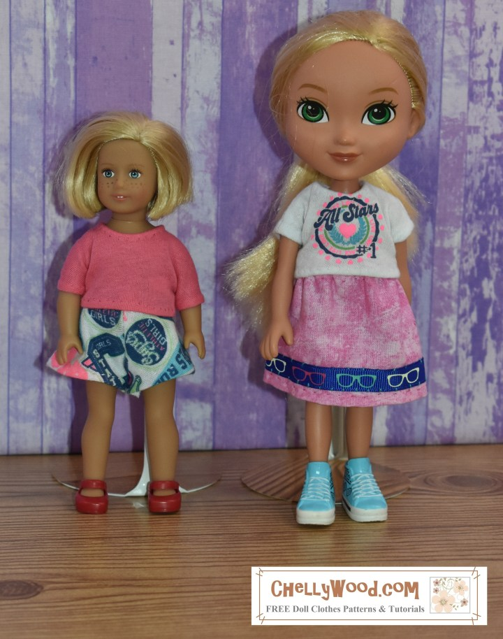 "This picture shows the 6-inch American Girl doll standing next to an ""Alanna / Alana"" doll from the Dora and Friends doll collection. The photograph accompanies a page which offers measurements for both the American Girl 6"" doll and the 8"" Dora the Explorer doll. These measurements are used for sewing purposes."