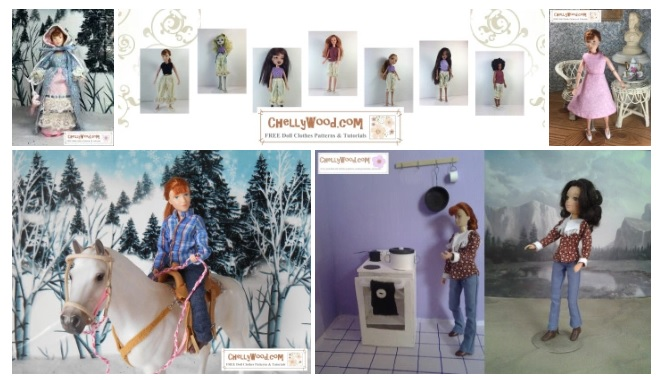 "The image is a screenshot of the gallery page showing 8"" Breyer Rider figures modeling the handmade doll clothes you can sew using Chelly Wood's free printable sewing patterns."