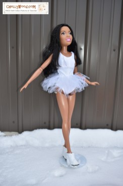 The image shows a 28-inch Best Fashion Friend Barbie doll wearing a ballerina Tutu made from a swimsuit pattern and tulle. If you'd like to sew this ballerina tutu for your 28 inch dolls, please click on the link provided in the caption.