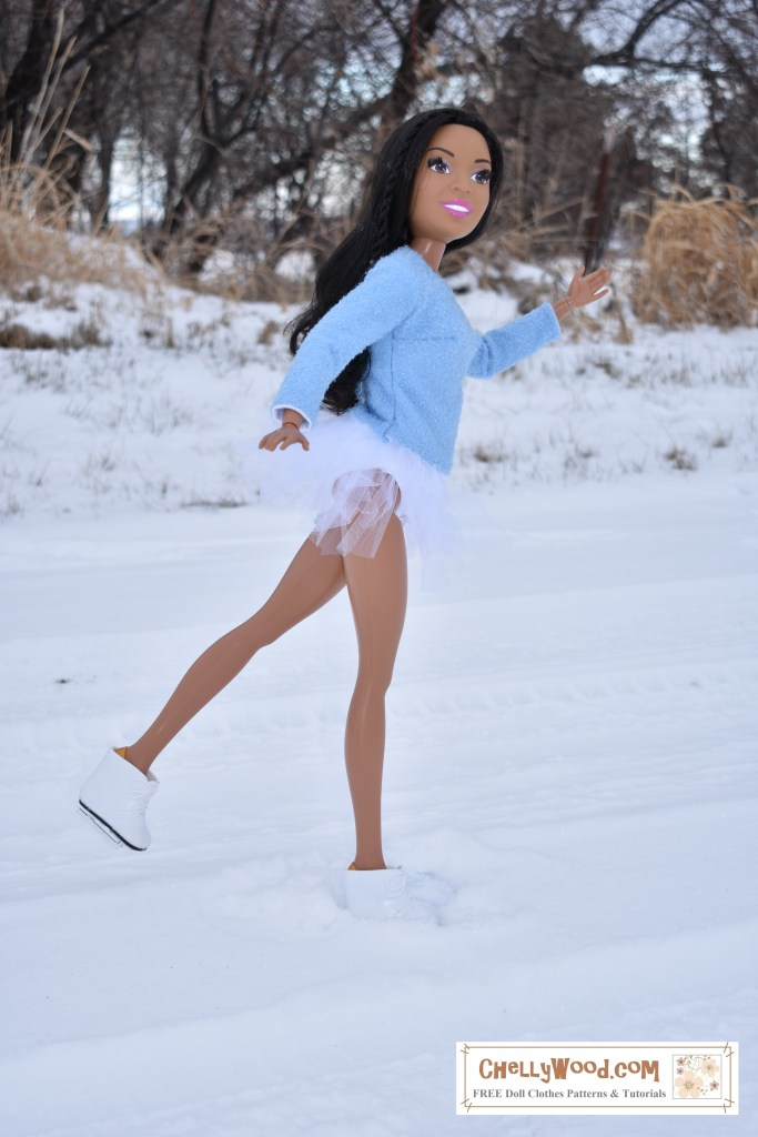 "The image shows Mattel's 28 inch Barbie doll wearing ice skates, a figure skater's leotard (swimsuit) and tutu with a handmade sweater. The huge Barbie doll waves as she skates by, smiling at the viewer. She seeks to be kicking one foot up, gliding along gracefully on the snow in an outdoor skating rink. If you'd like to sew this outfit for a 28"" doll like the 28"" barbie, please go to ChellyWood.com where you can find free patterns and tutorial videos for sewing these doll clothes."