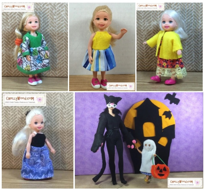 This image is a gallery screenshot of the free printable sewing patterns that will fit 4-inch to 5-inch dolls like Polly Pocket, Greenbriar dolls, Kelly dolls, and many dollhouse miniature dolls. Once you navigate to the page where this gallery is found, you can click on the image of the outfit you want to sew and it will take you to all the sewing patterns and tutorial videos you'll need to sew the outfit shown. Once again, the website where you can find all of these free patterns for Polly Pocket and similar sized dolls (10 cm 11 cm 12 cm miniature dolls), is ChellyWood.com