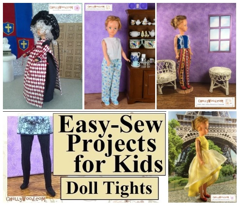 Are you searching for free printable sewing patterns to fit Ideal Toy Corp's Tammy dolls? The doll clothes sewing website, ChellyWood.com offers free printable sewing patterns for vintage Tammy dolls and dozens of other dolls of all different shapes and sizes. This image shows a screenshot of the gallery page for Tammy doll patterns on the ChellyWood.com doll clothes sewing website.