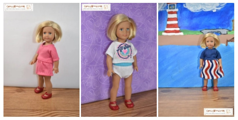 "This screenshot demonstrates some of the free printable sewing patterns you can find on ChellyWood.com (specifically free patterns for the 6-inch American Girl Mini dolls). The patterns used to make the outfits shown include a tiny skirt, a T-shirt, a pair of elastic-waist shorts, and a pair of underpants / knickers to fit 6"" dolls like the AG Mini. They will also fit other dolls of similar body types."
