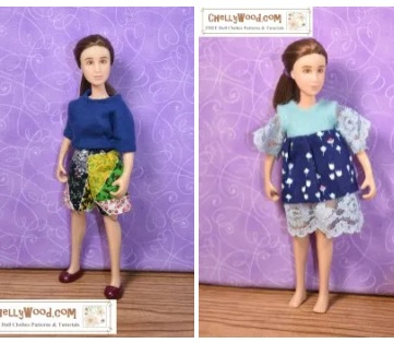 Please visit ChellyWood.com for free printable sewing patterns for making doll clothes to fit 1;12 scale dolls like the Breyer Classic Rider dolls and various brands of dollhouse dolls. In this Gallery preview image, we see the 1:12 scale Classic Breyer Rider doll modeling handmade shorts with a Tee Shirt in one image and a handmade dress with lace trim in another image. This indicates a small selection of the patterns offered in the Breyer Classic Rider gallery page on ChellyWood.com, your source for free printable doll clothes sewing patterns and easy to follow sewing tutorial videos.