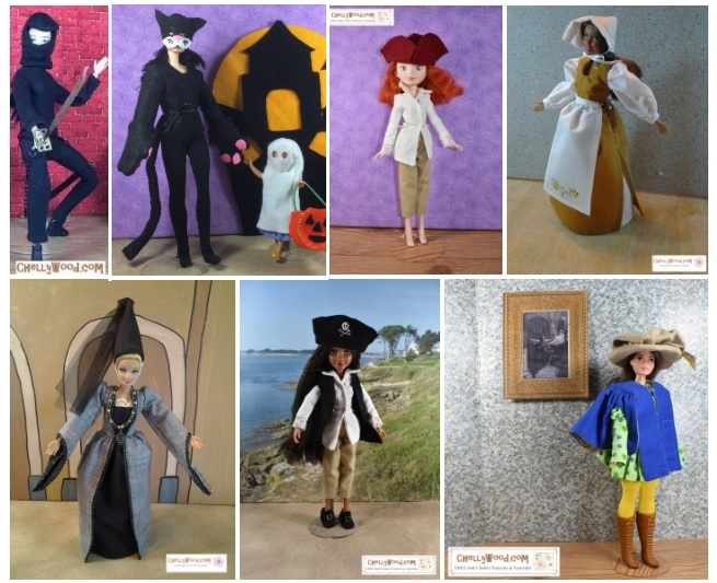 The image shows 11-inch to 11.5-inch (28 cm to 30 cm) fashion dolls wearing hand-made Halloween costumes and/or Cosplay costumes. These doll clothes include a pirate costume, an 18th century colonist costume, a medieval costume, a musketeer outfit, a cat costume, a ninja costume, and a pilgrim's dress with bonnet. All of these patterns are free to download and print at ChellyWood.com (a library of free printable sewing patterns for dolls of many shapes and sizes).