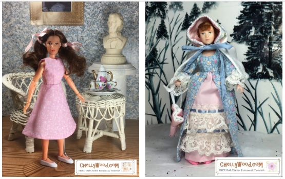 """The image shows a Mego Wizard of Oz Dorothy doll and a Breyer rider figure doll modeling two different outfits. If you go to the page where this directory is found, it will link you to various free printable sewing patterns to fit 8"""" dolls like the Mego action figures and Wizard of Oz dolls."""