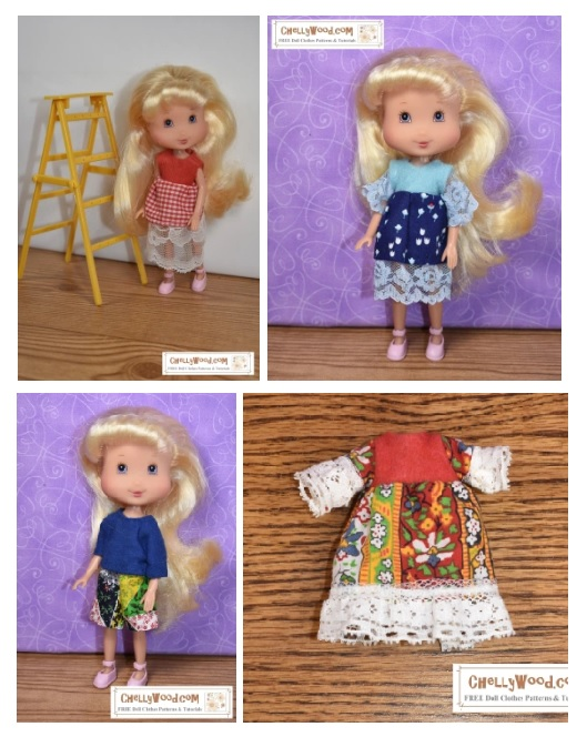 Please visit ChellyWood.com for your free printable PDF sewing patterns for doll clothes to fit dolls of many shapes and all different sizes. The image shows our different outfits: three dresses and one shorts-and-shirt outfit. These outfits are shown on 7 inch (17 to 18 cm) Strawberry Shortcake dolls to demonstrate that they will fit dolls in the same size range. The free printable PDF sewing patterns for making these outfits are all found at ChellyWood.com
