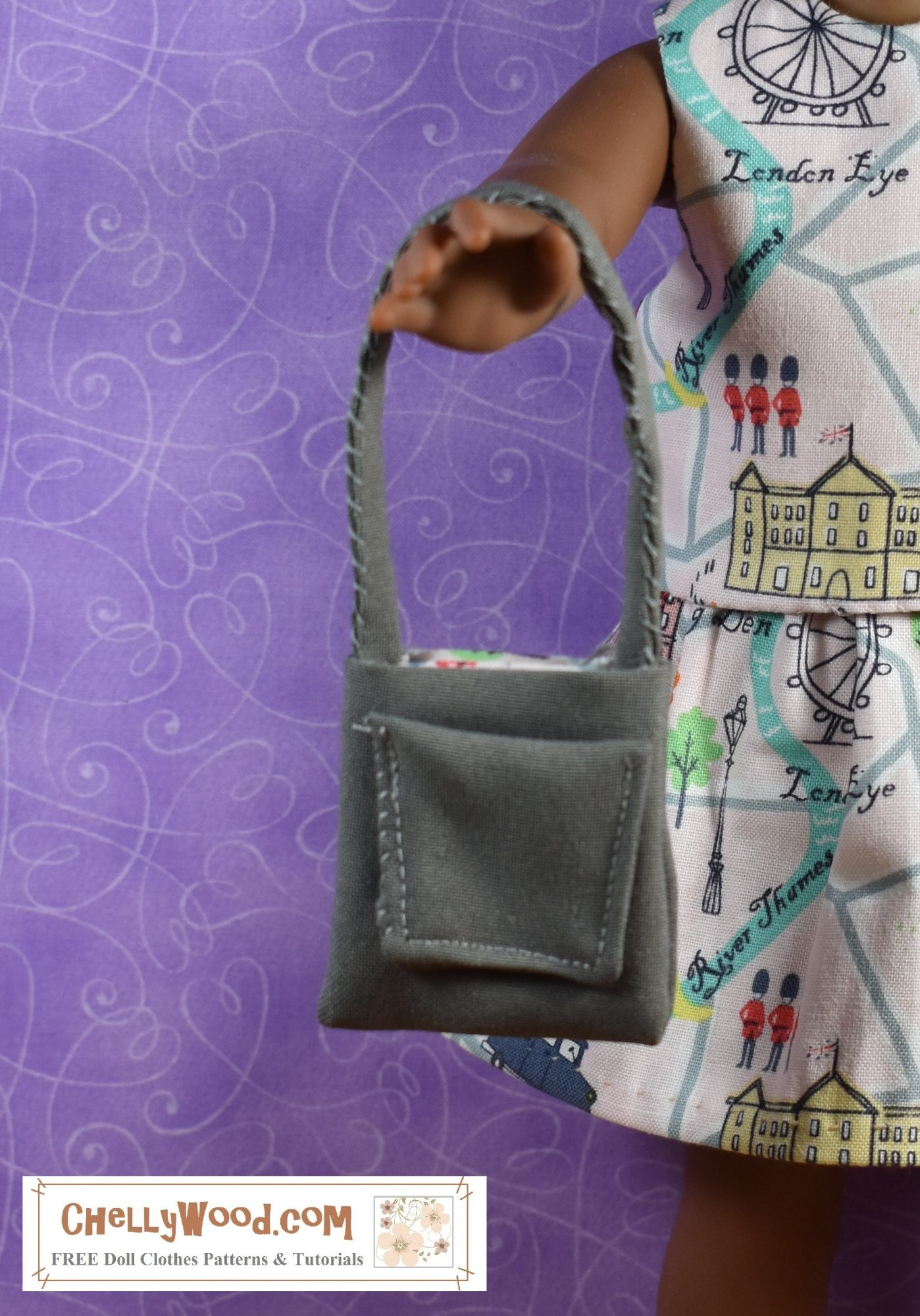 """The image shows a partial photo of a doll in the 13-inch, 14-inch, 15-inch, 16-inch, 17-inch, or possibly 18-inch doll range holding a handmade purse with a pocket. The watermark says """"ChellyWood.com: free doll clothes patterns and tutorials."""" If you click on the link below the photo, it will take you to a page where you'll find a tutorial video and free printable PDF pattern for making a purse like this one with a side pocket and lining, to fit dolls in this size range."""
