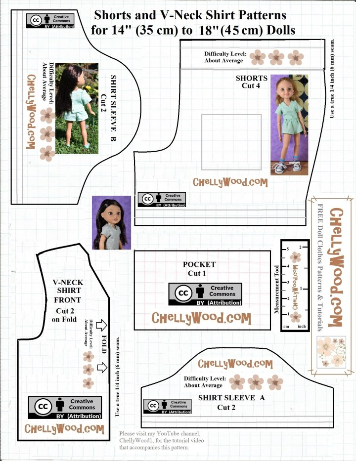 This is an image of a pattern for sewing doll clothes like a V-neck shirt, shorts, and different sleeve lengths. The pattern is marked with creative commons attribution and the pattern's PDF version is available at ChellyWood.com however this pattern exists so that blog followers who use the free doll clothes patterns can easily share this image on social media.