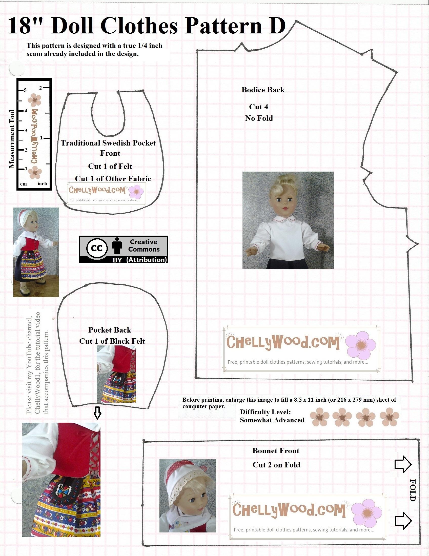 Swedish Pocket For 18 Inch Dolls Sweden Patterns Free Doll Clothes Patterns